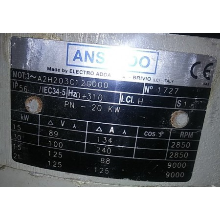 Ansaldo 15/30kW Liquid Cooled Induction Motor